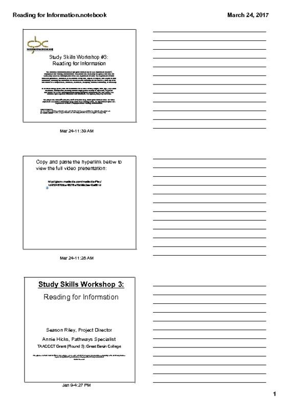 Study Skills Workshop # 3: Reading for Information