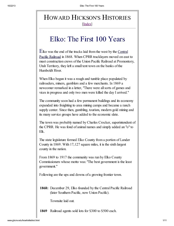 Elko: The First 100 Years