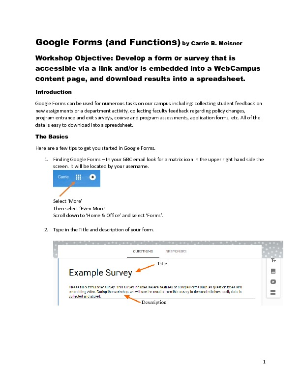 Google Forms (and Functions)