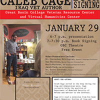 Poster for 2018 Veteran Writers Worskhop and Caleb Cage Reading