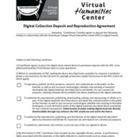 VHC Digital Collection Deposit and Reproduction Agreement