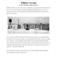 """Wilkins, Nevada: A 20th Century Ghost Town"""